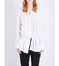 Ann Demeulemeester Alexis Ruched Cotton Shirt White