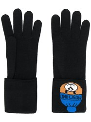 Moschino Knitted Teddy Gloves Black