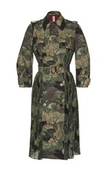 Antonio Marras Double Breasted Long Sleeve Camouflage Coat Olive
