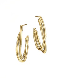 18K Gold Interlocking Bamboo Hoop Earrings Medium John Hardy