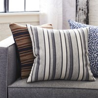Cb2 The Hill Side Workwear Blanket Stripe 20'' Pillow With Feather Insert