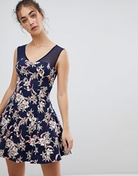 Qed London Floral Skater Dress With Mesh Detail Navy