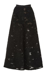 Self Portrait Wide Leg Fil Coupe Trousers Black