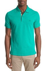 Burberry Men's Pique Polo Vibrant Teal