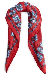 Sandro Woman Printed Silk Twill Scarf Red