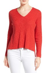 Eileen Fisher Women's Organic Linen And Cotton V Neck Sweater Lava