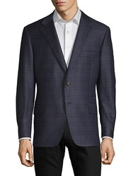 Hickey Freeman Plaid Wool And Silk Modern Fit Sportcoat Navy
