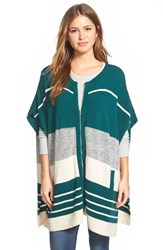 Petite Women's Caslon Zip Front Cape Style Cardigan Teal Deep Halo Pattern