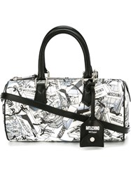 Moschino Shopping Bag Print Bowler Tote White
