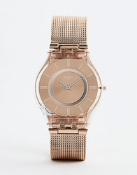 Swatch Sfp115m Core 6 Mesh Watch In Rose Gold 34Mm Copper