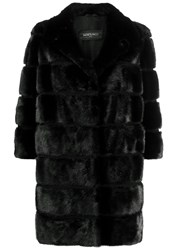 Simonetta Ravizza Convertible 3 4 Sleeves Coat Black