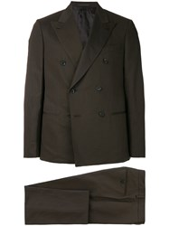 Caruso Double Breasted Two Piece Suit Brown