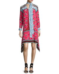 Mary Katrantzou Long Sleeve Mixed Print Scarf Tie Dress Pink Pattern