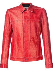 Rick Owens Drkshdw Concealed Button Fastening Denim Jacket Red