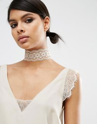 Asos Wide Crochet Choker Necklace Mink Pink