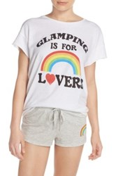 Junk Food Glamping Is For Lovers Front Graphic Tee White