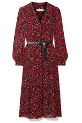 Michael Michael Kors Belted Printed Georgette Midi Dress Red