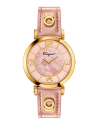 Salvatore Ferragamo 39Mm Gancino Deco Watch W Pink Patent Leather Strap