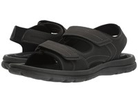 Rockport Get Your Kicks Sandals Double Hook And Loop Black Leather Men's Shoes