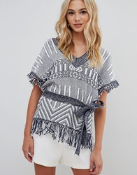 Urban Bliss Belted Top With Fringing Blue