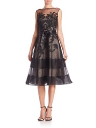 Teri Jon By Rickie Freeman Lace Illusion Sleeveless Dress Black