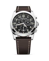 Victorinox Swiss Army Infantry Chronograph Watch With Leather Strap 40Mm Grey Brown