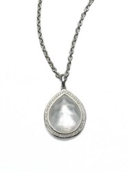 Ippolita Stella Mother Of Pearl Clear Quartz Diamond And Sterling Silver Teardrop Doublet Pendant Necklac