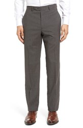 Santorelli Men's Big And Tall Flat Front Plaid Wool Trousers Charcoal