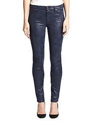 7 For All Mankind Coated Snake Print Skinny Jeans