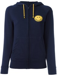 History Repeats Smile Patch Zipped Hoodie Blue
