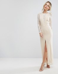 Elise Ryan Lace Maxi Dress With Deep V Plunge Neck And Thigh Split Cream