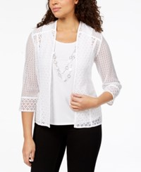 Alfred Dunner Charleston Open Lace Layered Look Necklace Top White