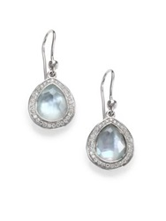 Ippolita Stella Swiss Blue Topaz Mother Of Pearl Diamond And Sterling Silver Doublet Teardrop Earrings