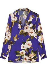 Dolce And Gabbana Floral Print Silk Charmeuse Shirt Lilac