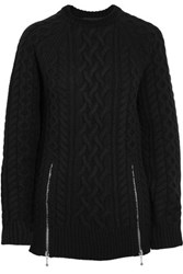 Alexander Wang Zip Detailed Cable Knit Merino Wool Sweater Black