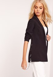 Missguided Crepe Lace Up Blazer Black Black