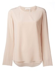 Chloe Scalloped Top Nude Neutrals