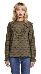 Cooper And Ella Embroidered Eyelet Top Olive Green