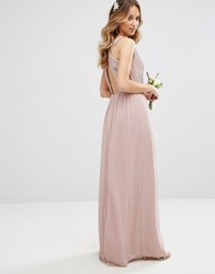 Tfnc Wedding Pleated Maxi Dress With Back Detail Pale Mauve Pink