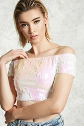 Forever 21 Off The Shoulder Sequin Top White Pink