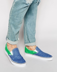 Vans Washed 2 Tone Slip On Canvas Plimsolls Blue