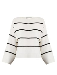 Vince Oversized Striped Cashmere Sweater White Black