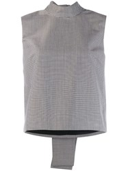 Msgm Back Bow Check Top Grey
