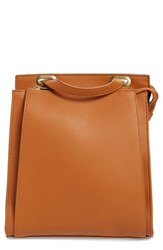 Street Level Faux Leather Convertible Backpack Brown Cognac Gold