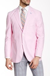 Tailorbyrd Pink Two Button Notch Lapel Chambray Jacket