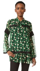 Anna Sui Starry Flower Print Blouse Black Multi