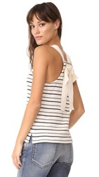 Madewell Striped Bow Back Tank Top Bleached Linen