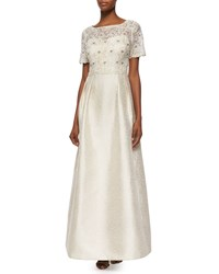 Kay Unger New York Short Sleeve Lace Bodice A Line Ball Gown Women's