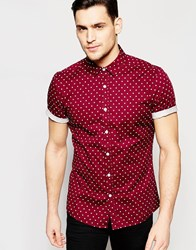 Asos Skinny Polka Dot Shirt In Burgundy With Short Sleeves Red
