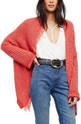 Free People Women's I'll Be Around Cardigan Red